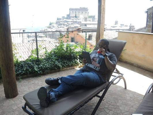 Relaxing! That's Castello Orsini behind me.