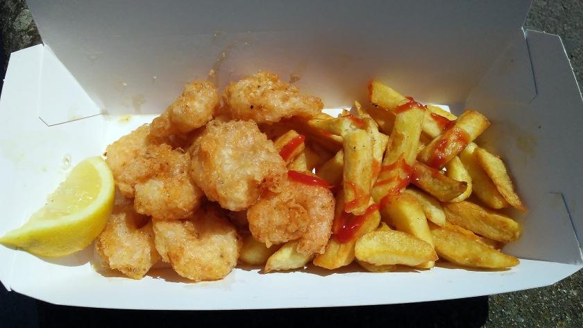 Gambas Tempura and Chips