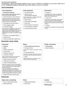 Sample checklist from Travels' Checklist