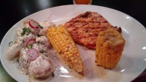 BBQ chicken w/corn on the cob & potato salad