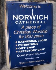 Norwich Cathedral sign