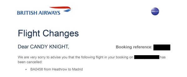 Cancellation - BA0458 LHR to MAD on 31 Aug 2019 _ PF8REK - ccknight28@gmail.com - Gmail