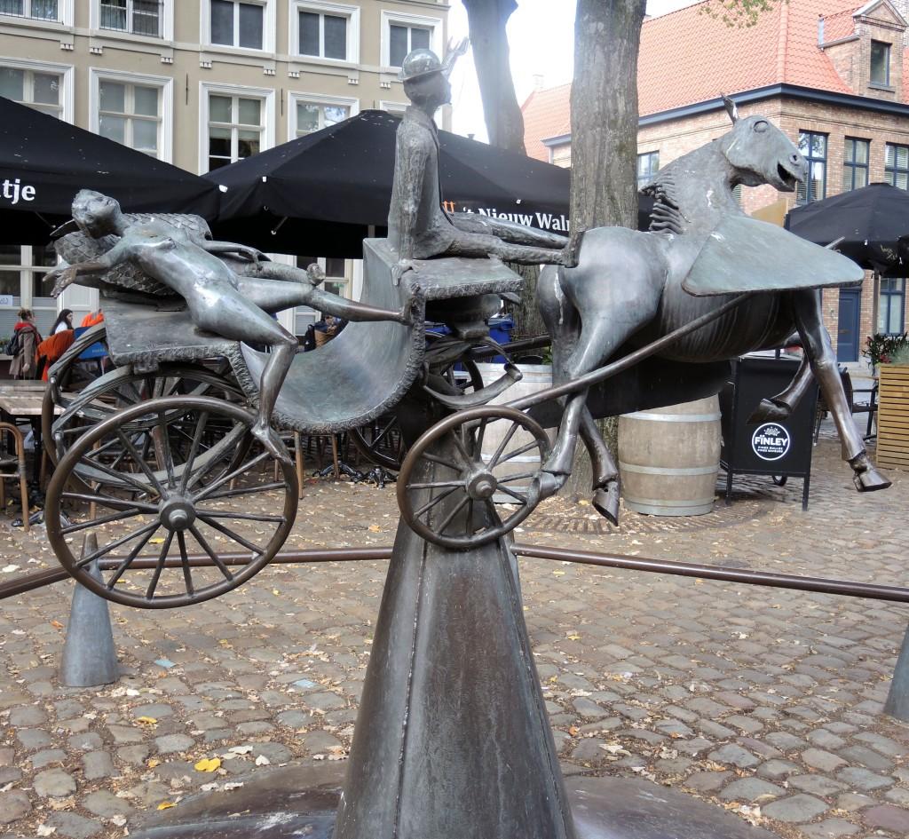 Zeus, Prometheus, and Pegasus sculpture by Belgian artist Jef Claerhout