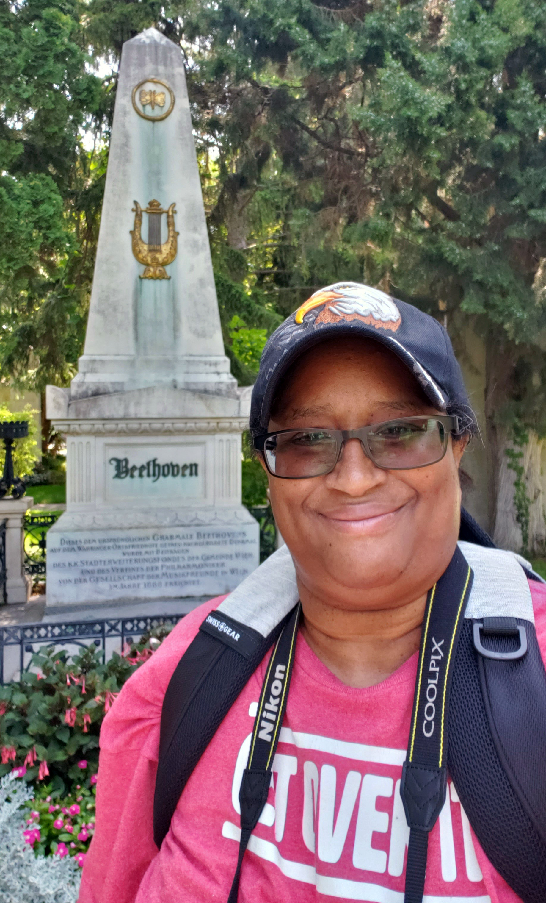 I'm smiling because I found Beethoven's grave at Wiener Zentralfriedhof